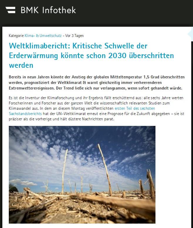 Weltklimabericht: Kritische Schwelle der Erderwärmung könnte schon 2030 überschrittenwerden